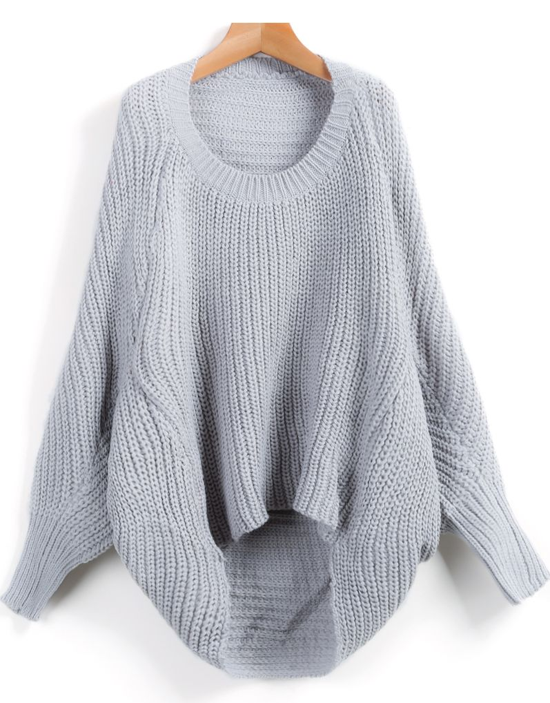 Shop Grey Long Sleeve Dipped Hem Loose Sweater online. Sheinside offers Grey Long Sleeve Dipped Hem Loose Sweater & more to fit your fashionable needs. Free Shipping Worldwide!