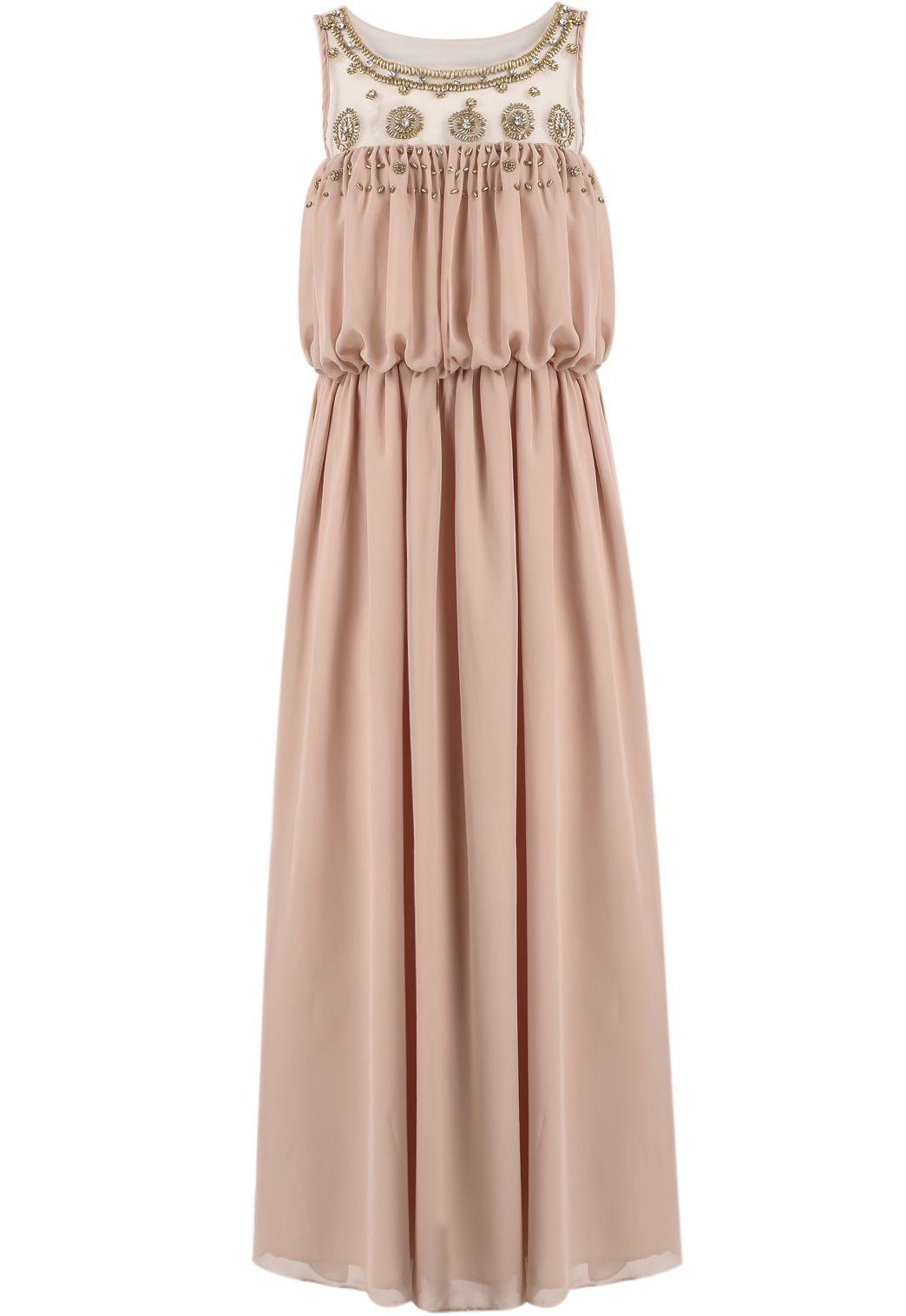 Pink Sleeveless Bead Pleated Maxi Dress - Sheinside.com