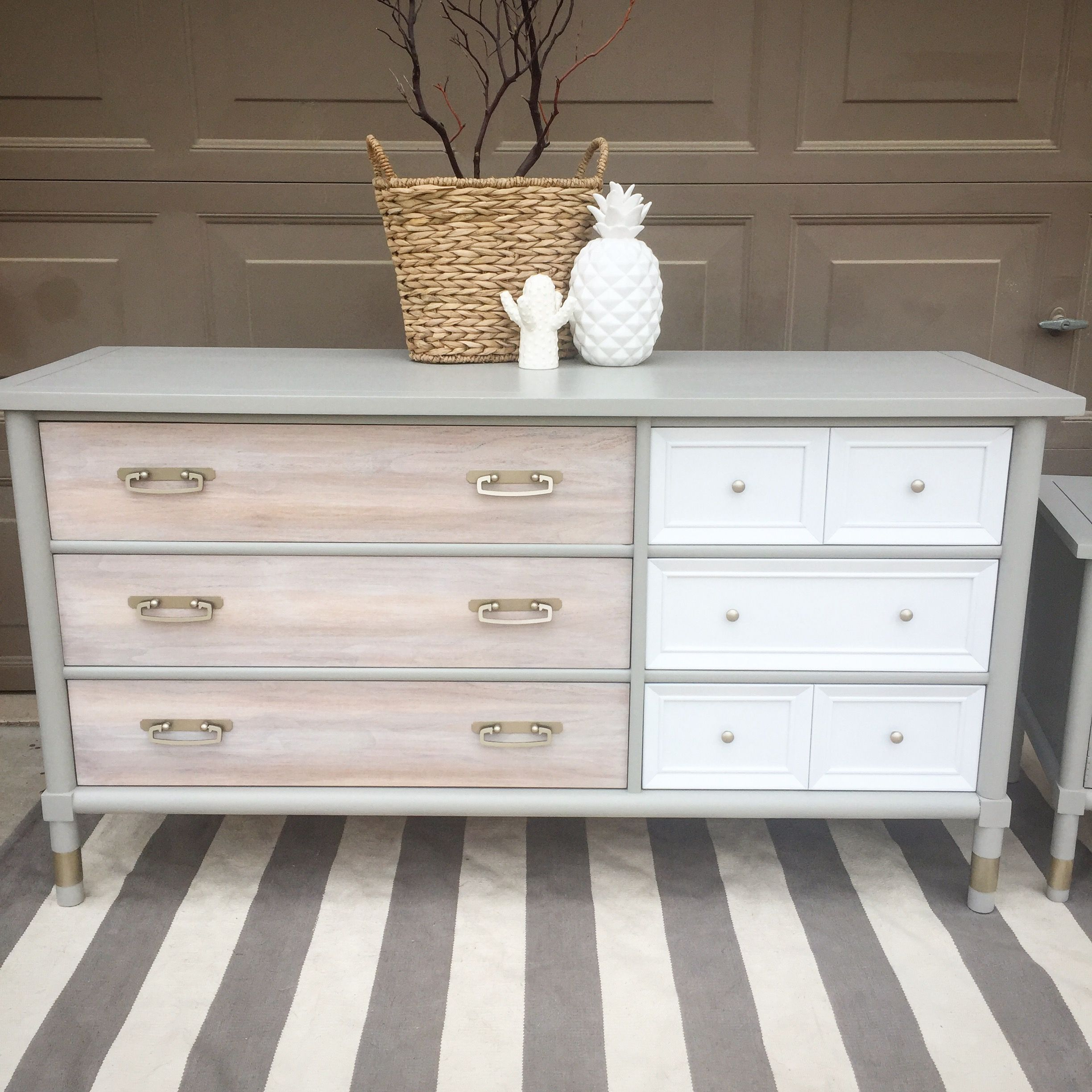 American Of Martinsville Dresser Refinished White Light Stained Drawers White Drawers And Gray Bo Grey Painted Furniture Furniture Rehab Refinishing Furniture [ 2448 x 2448 Pixel ]
