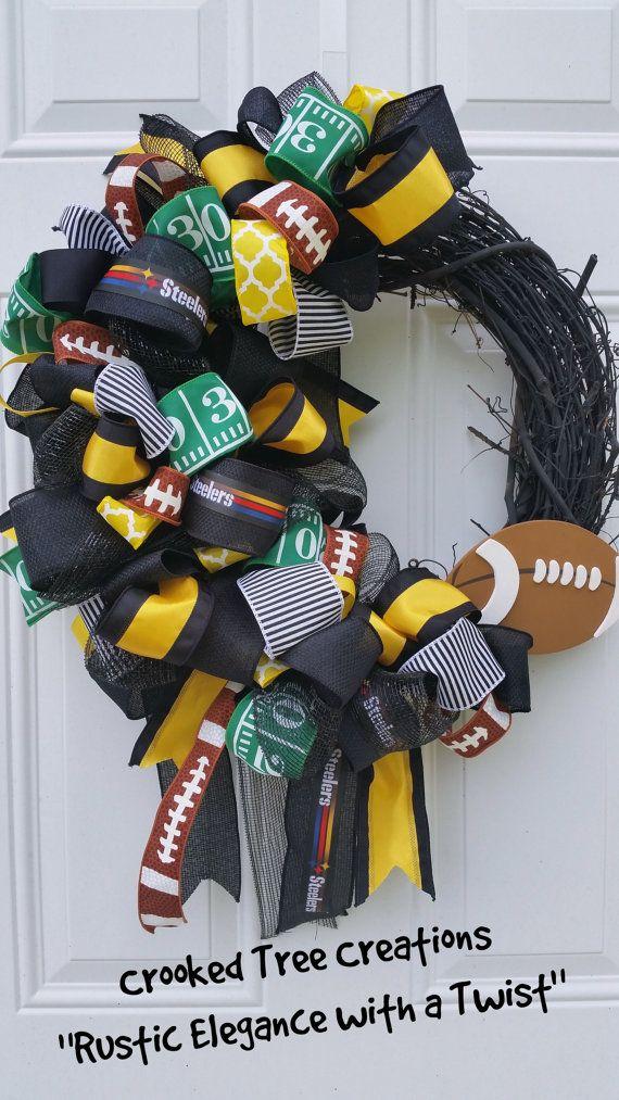 steelers wreath wreaths Game Day Wreath football wreath Free Shipping pittsburg wreath Pittsburg Steelers Front Door Wreath