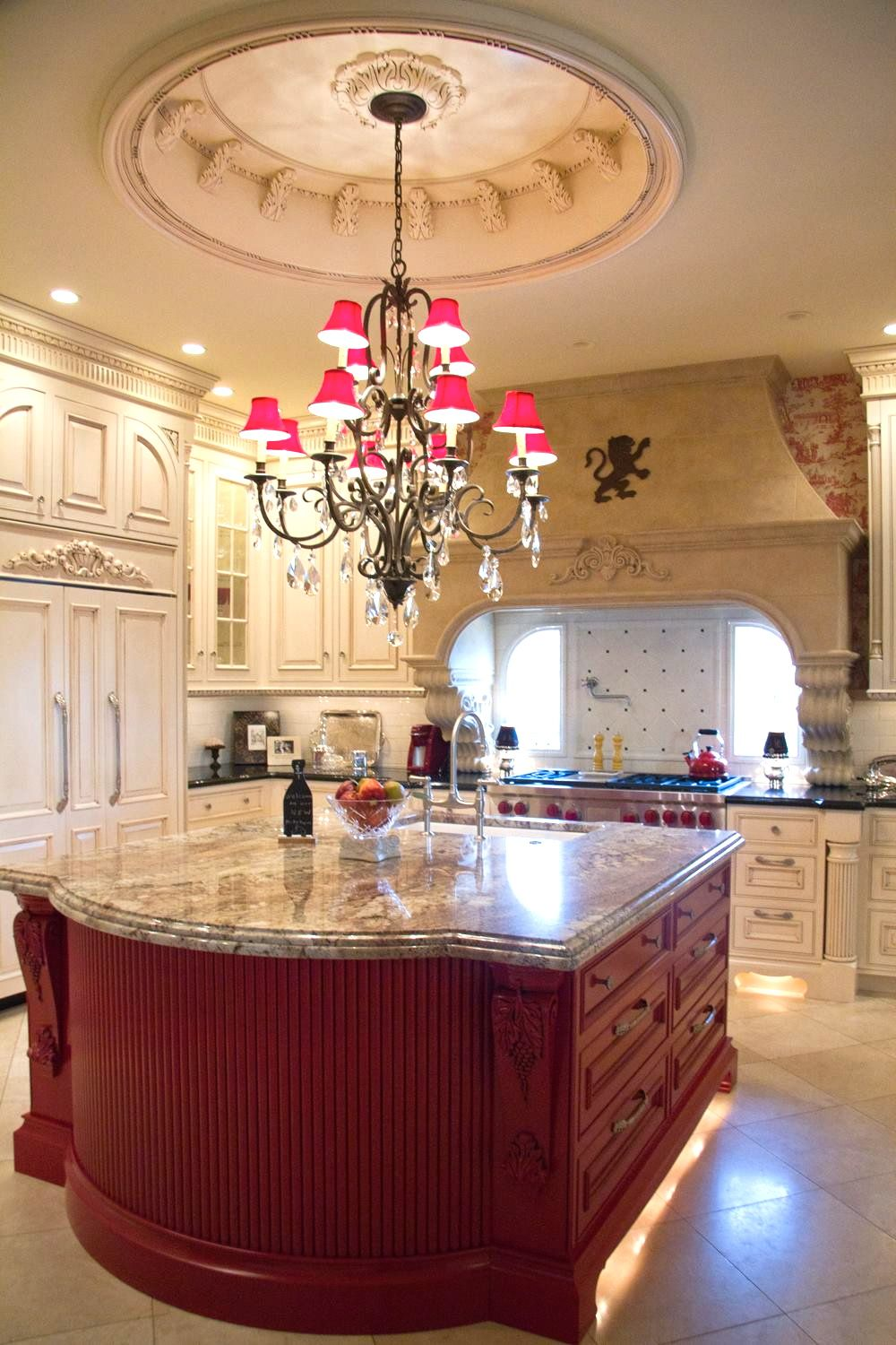 Fancey french country kitchen toile chandelier architectural