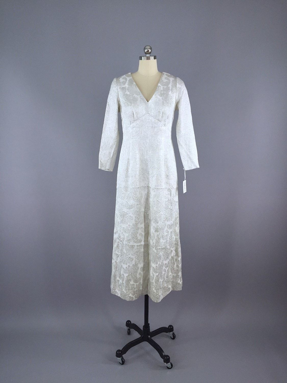 S vintage silver brocade maxi dress s maxi dresses and