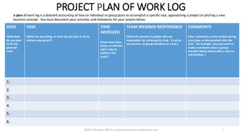 Everyone who works on projects needs this log.  It make sure that group members connect tasks and dates to the responsibility of project completion.  This is an excellent form to use with any group projects that take a week or more to design or develop.