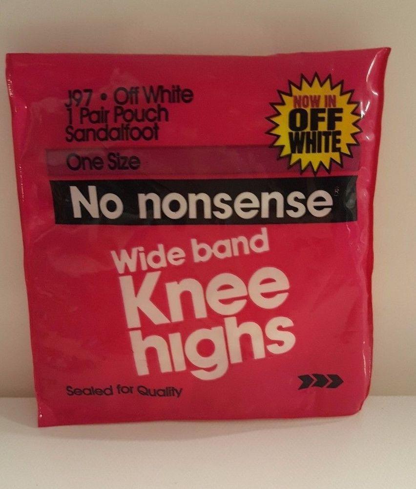 7aeaa4a9a4f Off White Knee Highs Socks Nylon Pantyhose USA Hosiery 1pr No Nonsense Wide  Band  Nononsense  KneeHighs