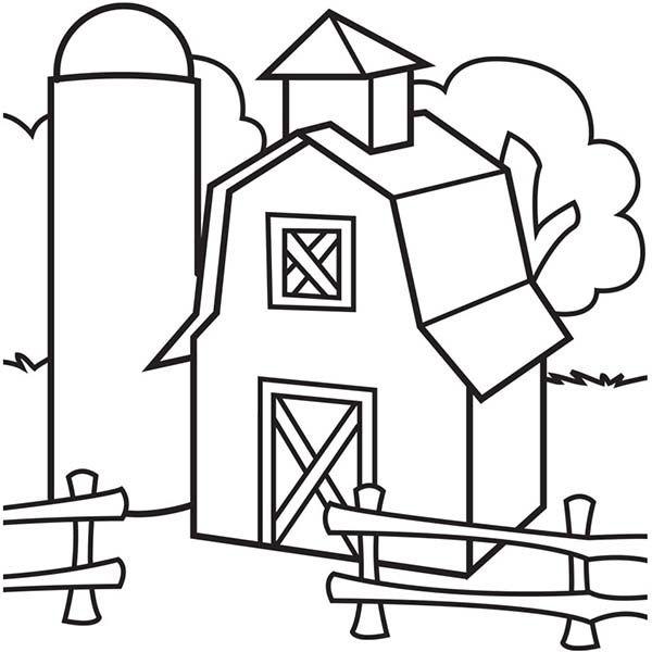 Barn, Image of Barn and Silo Coloring Page: Image Of Barn And Silo ...