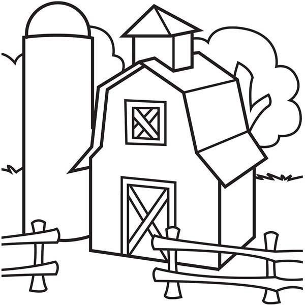 Barn Image Of Barn And Silo Coloring Page Image Of Barn And Silo