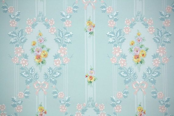 1940s Vintage Wallpaper by the Yard - Blue Background with