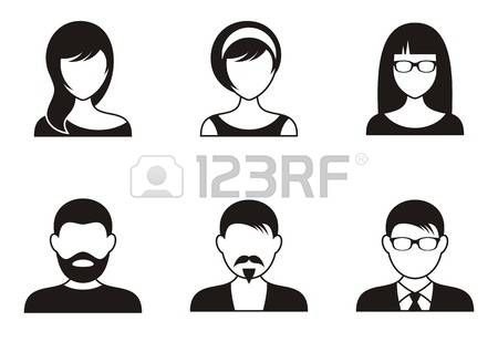 Illustration Visage femme visage: hommes et femmes icônes noires sur fond blanc