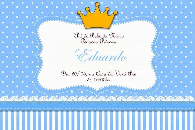 Chá De Bebê Menino Coroa Principe Para Fazer Em Azul Marinho Chá