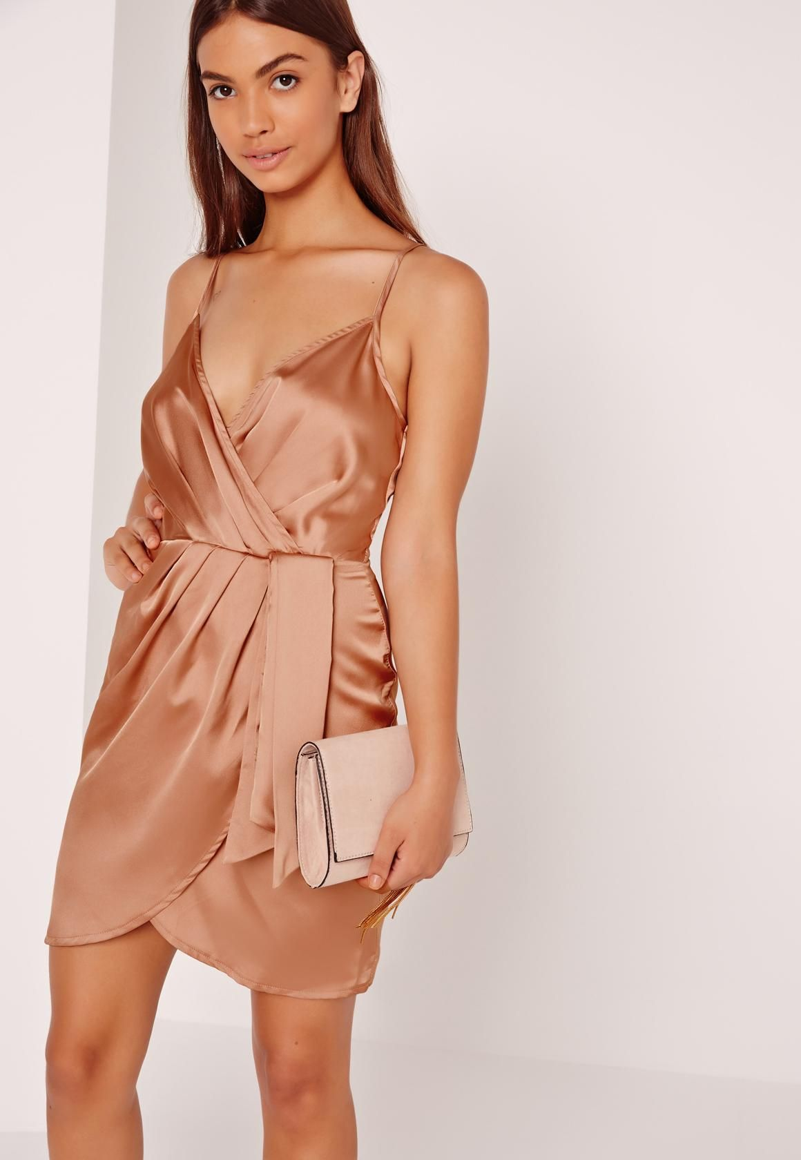 6cf259ff754 Missguided - Silky Strappy Wrap Cami Dress Nude