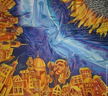 """Шали, палантины ручной работы. Платок """"Под небом голубым есть город золотой"""". Елена Котова (батик). Ярмарка Мастеров."""