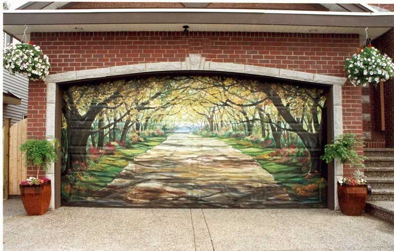 Oh My Wonder If I Could Paint Something Like This On The Man Cave Door Garage Door Design Door Murals Unique Garage Doors