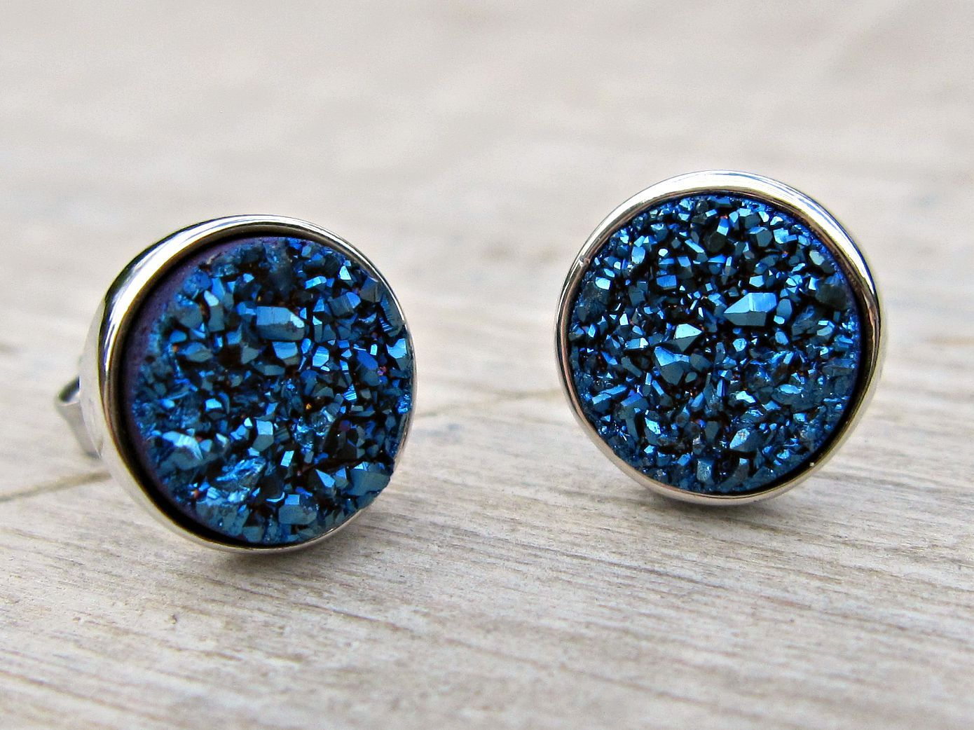 Blue Druzy Earrings Bridal Studs Great Gatsby Jewelry Sterling Silver Ukstone