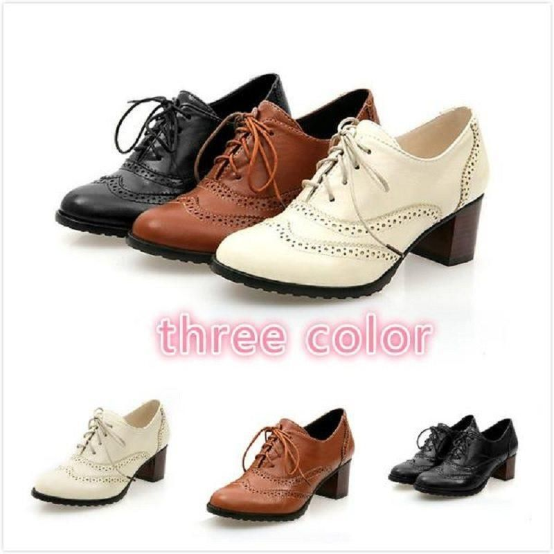 Details about  /Hot Womens Lace Up Oxfords Shoes College Leather Round Toe Chunky Heel Casual L