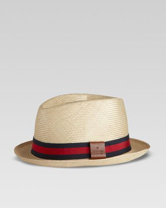 Gucci Straw Web Fedora, Blue Red - Neiman Marcus   My style and then ... 96b1689c45f