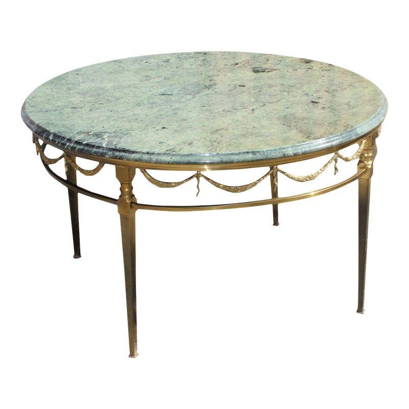 1940s French Art Deco Maison Jansen Round Marble Top Bronze Coffee