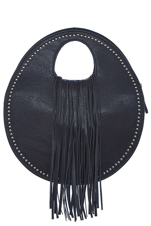 Studded Round Fringe Handbag  Handbags  Fringe  Trend  Accessories ...