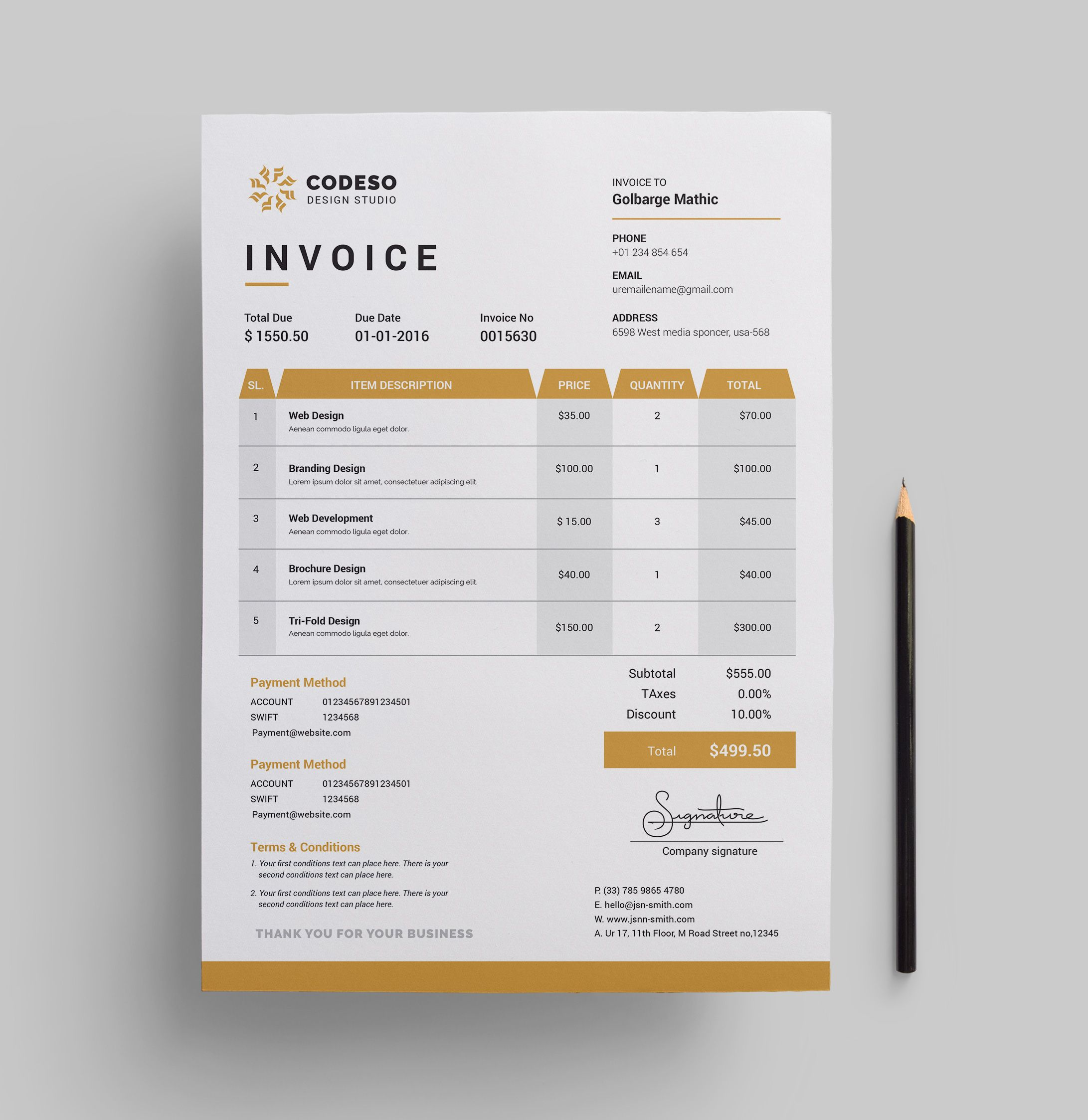 Invoice Template With Elegant Style Graphic Delta Graphic Templates Store Invoice Template Invoice Design Template Invoice Design