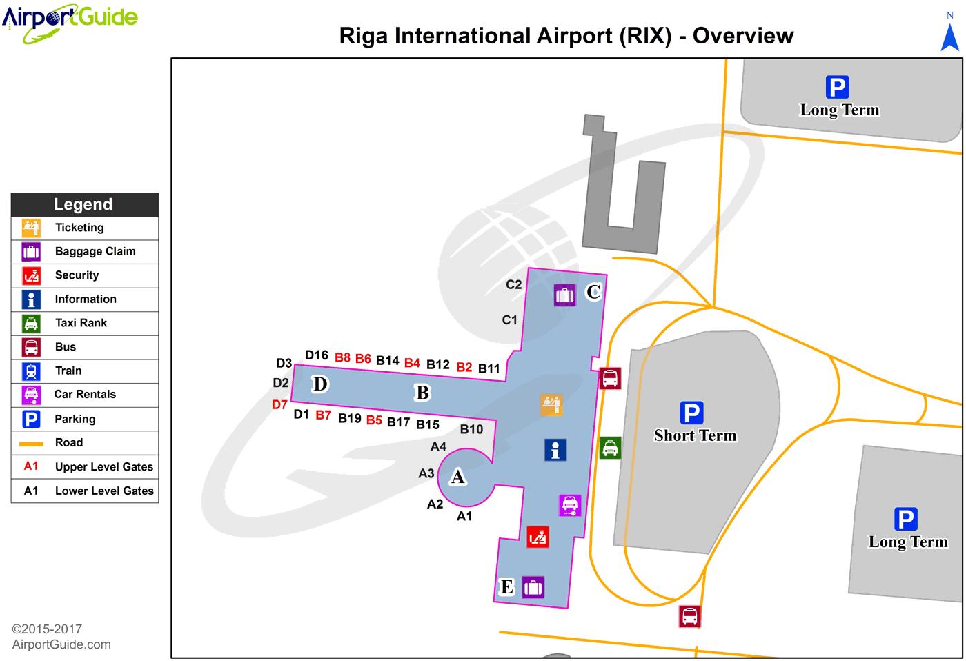 Riga Riga International (RIX) Airport Terminal Map