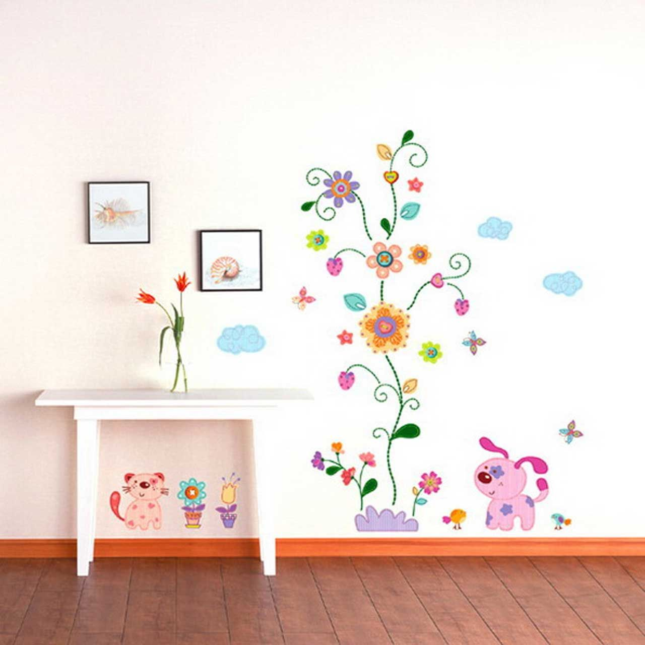 Beautiful kids room decorating design ideas with creative removable flower wall art kids room - Kids room decoration ...