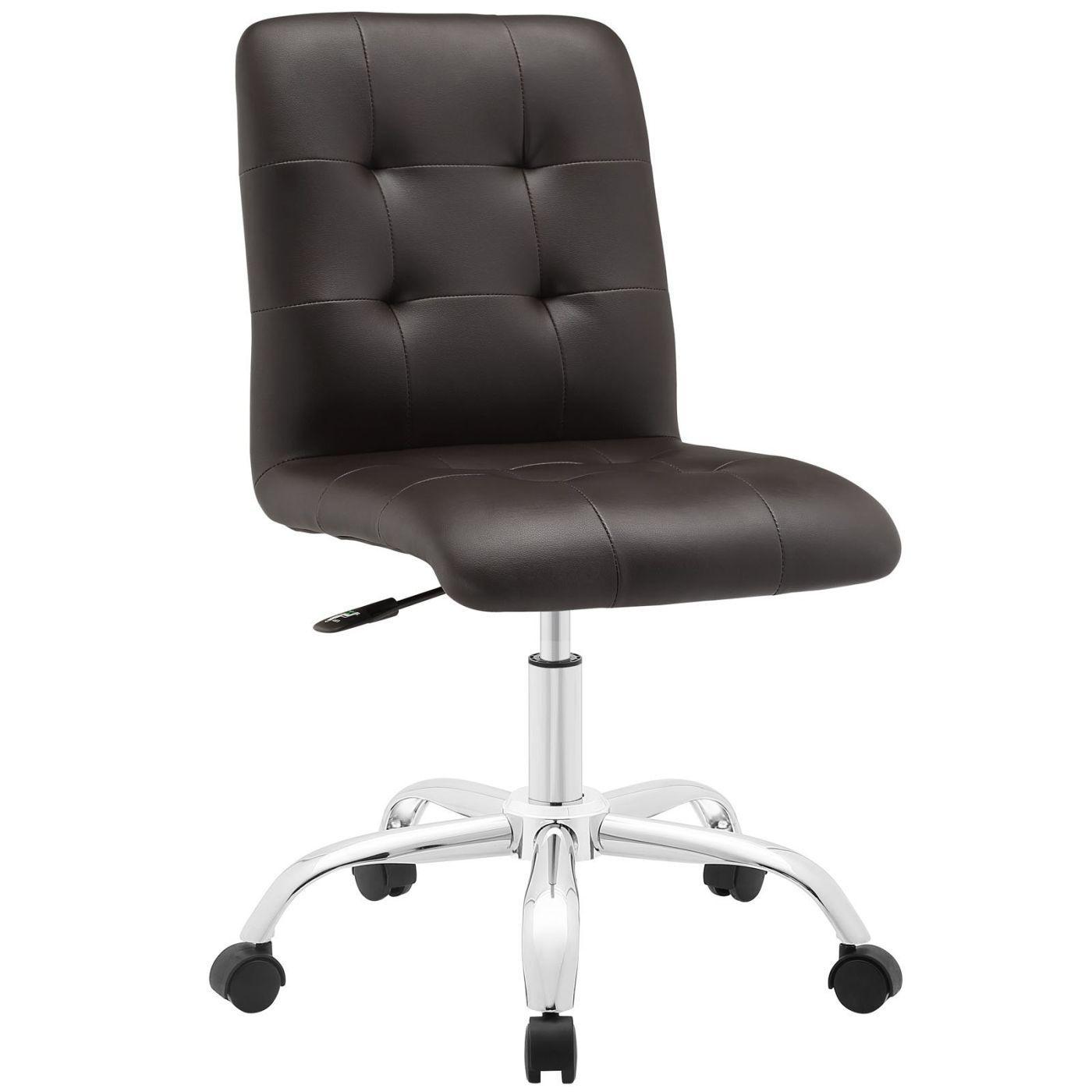 Incredible Prim Modern Armless Mid Back Office Chair Padded Faux Creativecarmelina Interior Chair Design Creativecarmelinacom