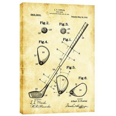 Cortesi Home Golf Club Vintage Patent Blueprint Graphic Art on Canvas