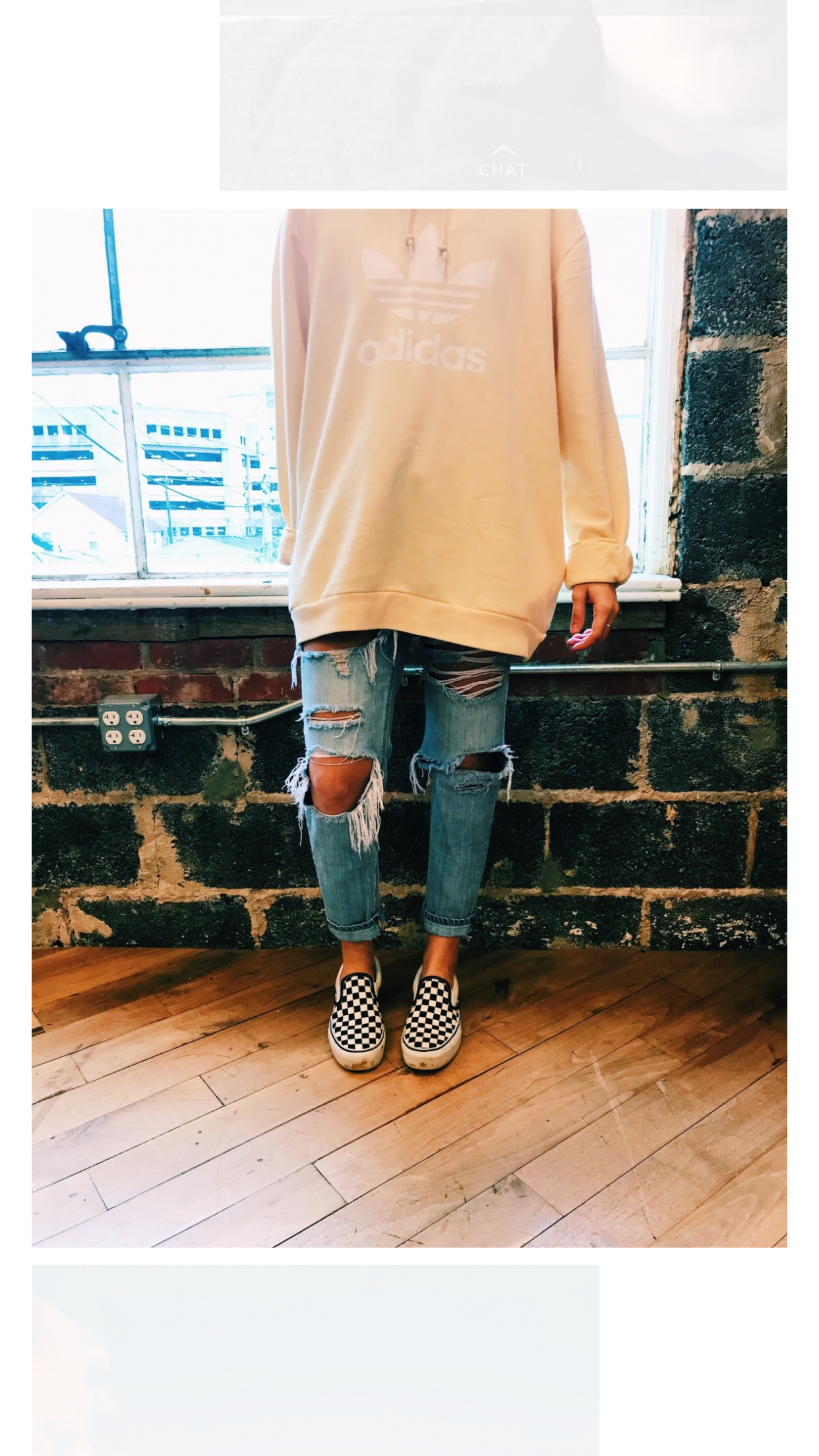 428a6ade11 Oversized Adidas Sweater + Ripped Jeans + Checkered Slip On Vans   Nice  Comfy Look