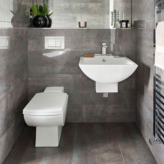 Dark Grey Tiled Bathroom Small Toilet Decorating Ideas Uk Small Bathrooms Ideas Small Bathroo Grey Bathrooms Small Bathroom Remodel Gray Bathroom Decor