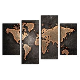 Discount framed world maps 4 paenl world map black background wall discount framed world maps 4 paenl world map black background wall art painting pictures print on gumiabroncs Images