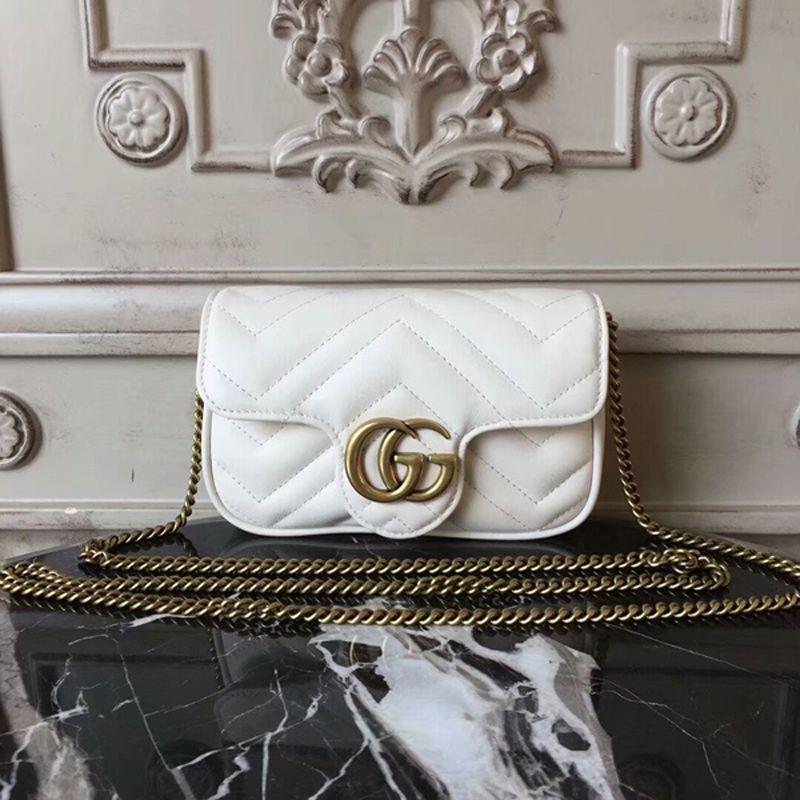 430c77196 Gucci GG Marmont Matelasse Mini Shoulder Bag 17cm White | Gucci in ...