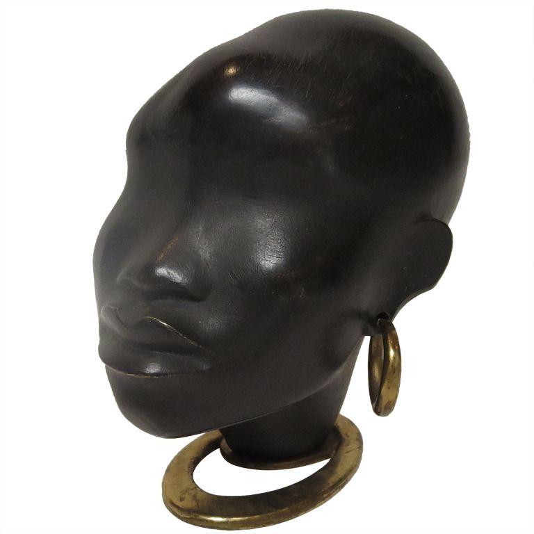 African Sculpture: Bronze And Wood African Head Sculpture By Karl Hagenauer
