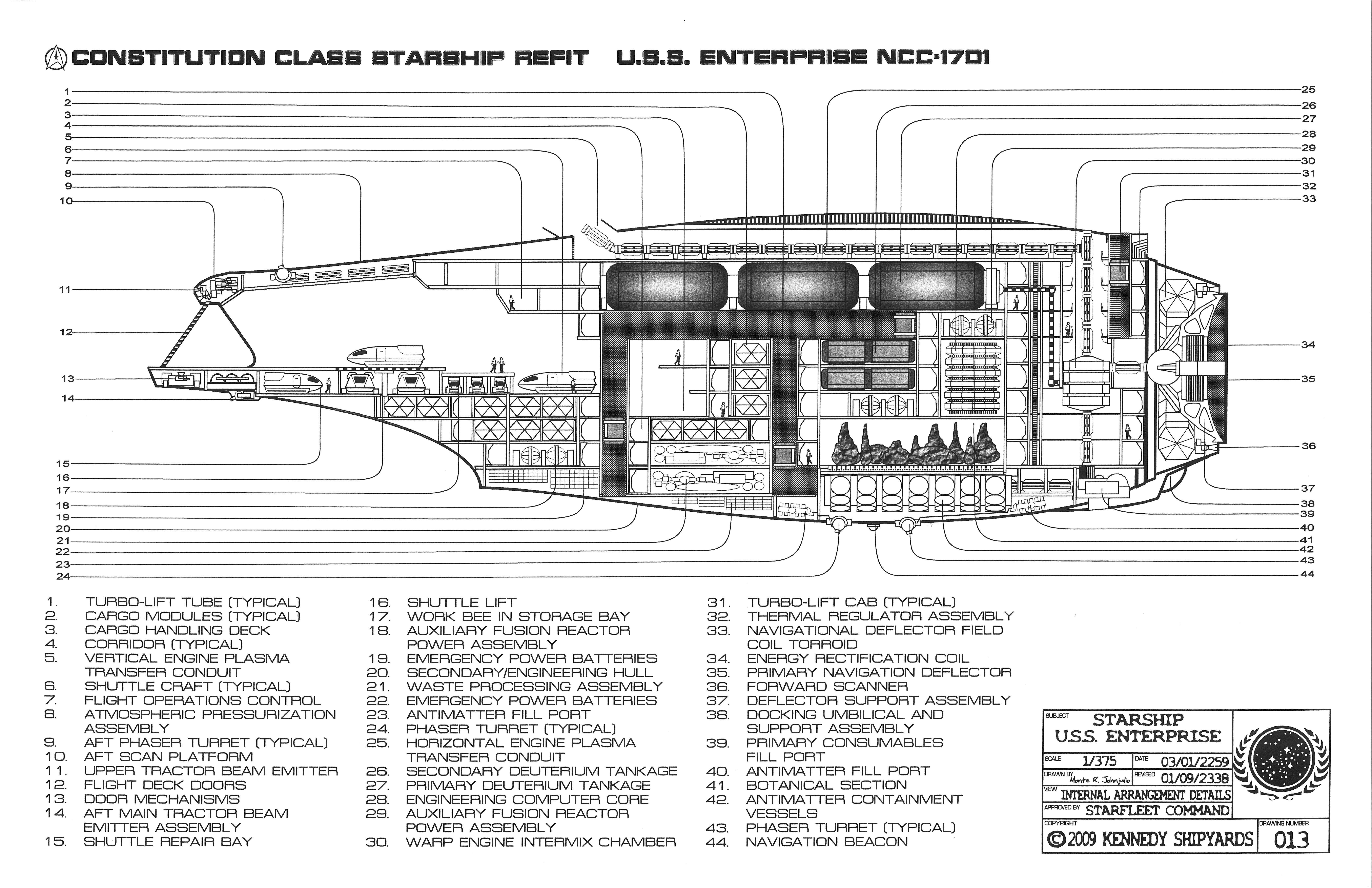 Enterprise Ncc 1701 Constitution Class Starship Refit Bluepri Rh Pinterest  Com NCC 1701 Blueprints NCC 1701 D Schematics