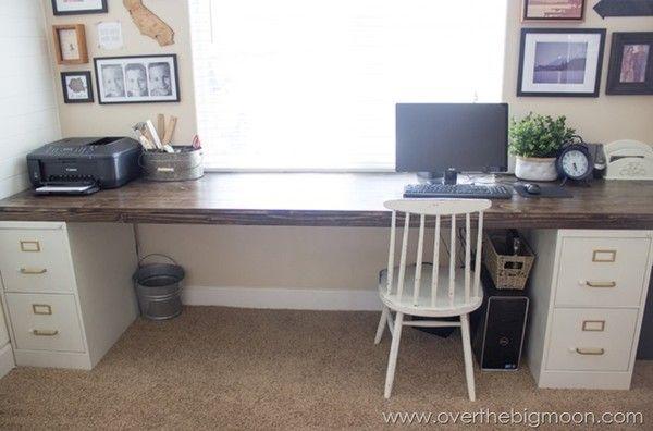 2 file cabinets + 1 plank = best DIY desk ever...new sewing desk?