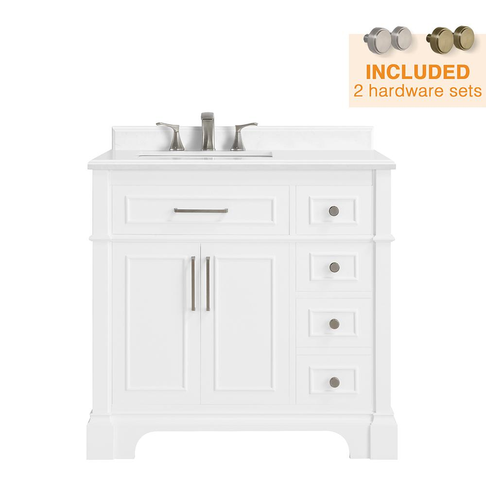 Home Decorators Collection Melpark 36 In W X 22 In D Bath Vanity In White With Cultured Marble Vanity Top In White With White Sink Melpark 36w Marble Vanity Tops White Sink