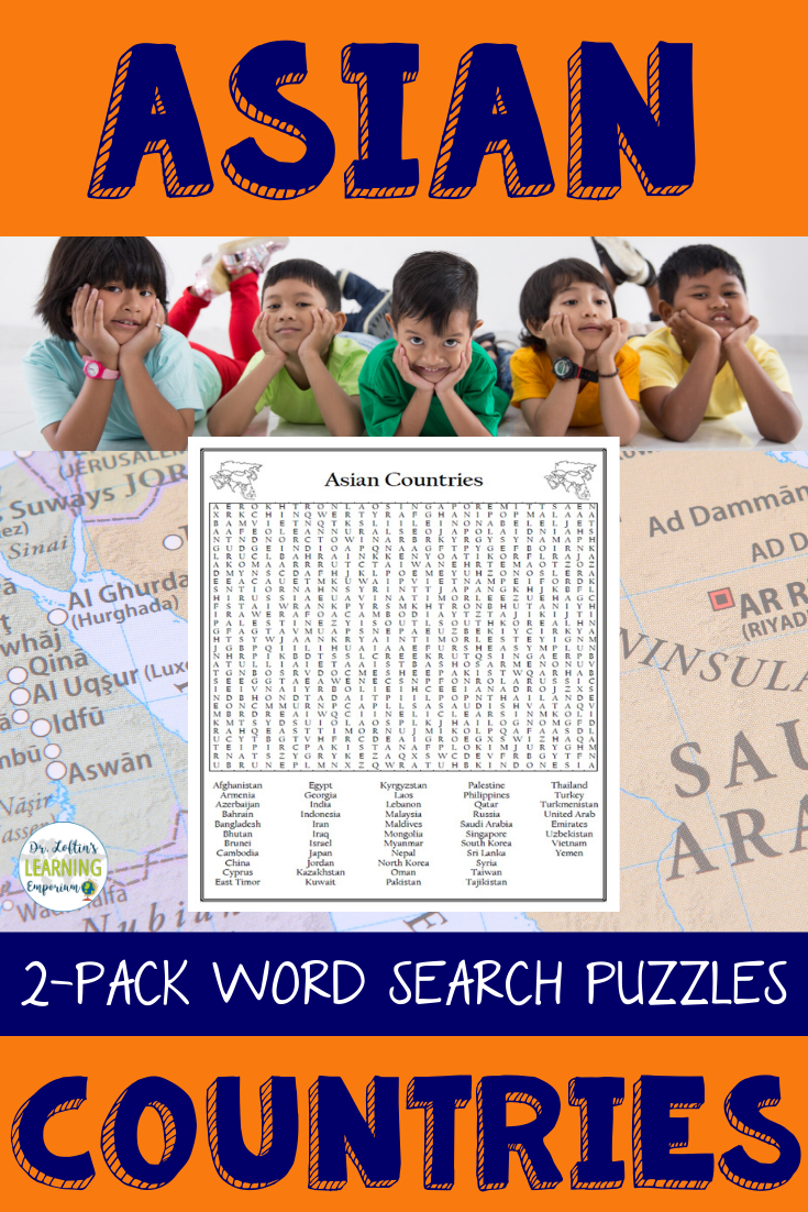 Asian Countries Word Search Puzzles Differentiated 2-Pack