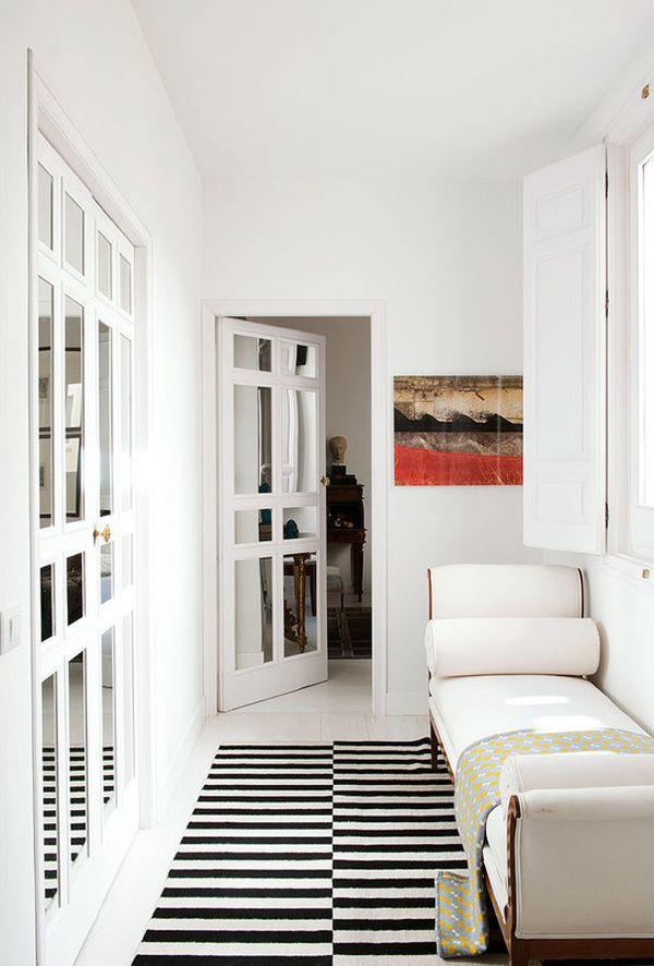 RAL 167 Madrid 19th c apt hallway white mirrored doors chaise IKEA ...