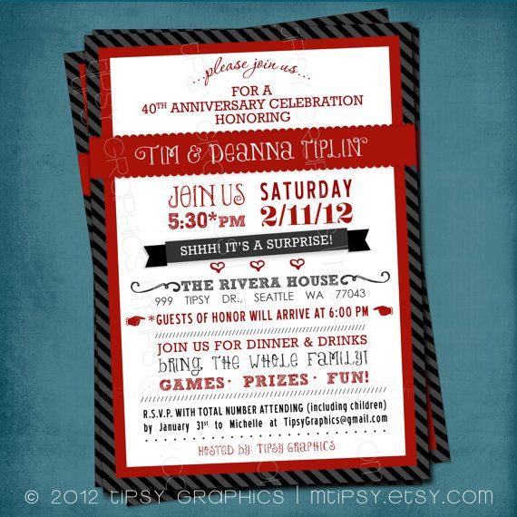 Surprise Party Invite Or Milestone Wedding Anniversary By Tipsy Graphics Any Colors And Text