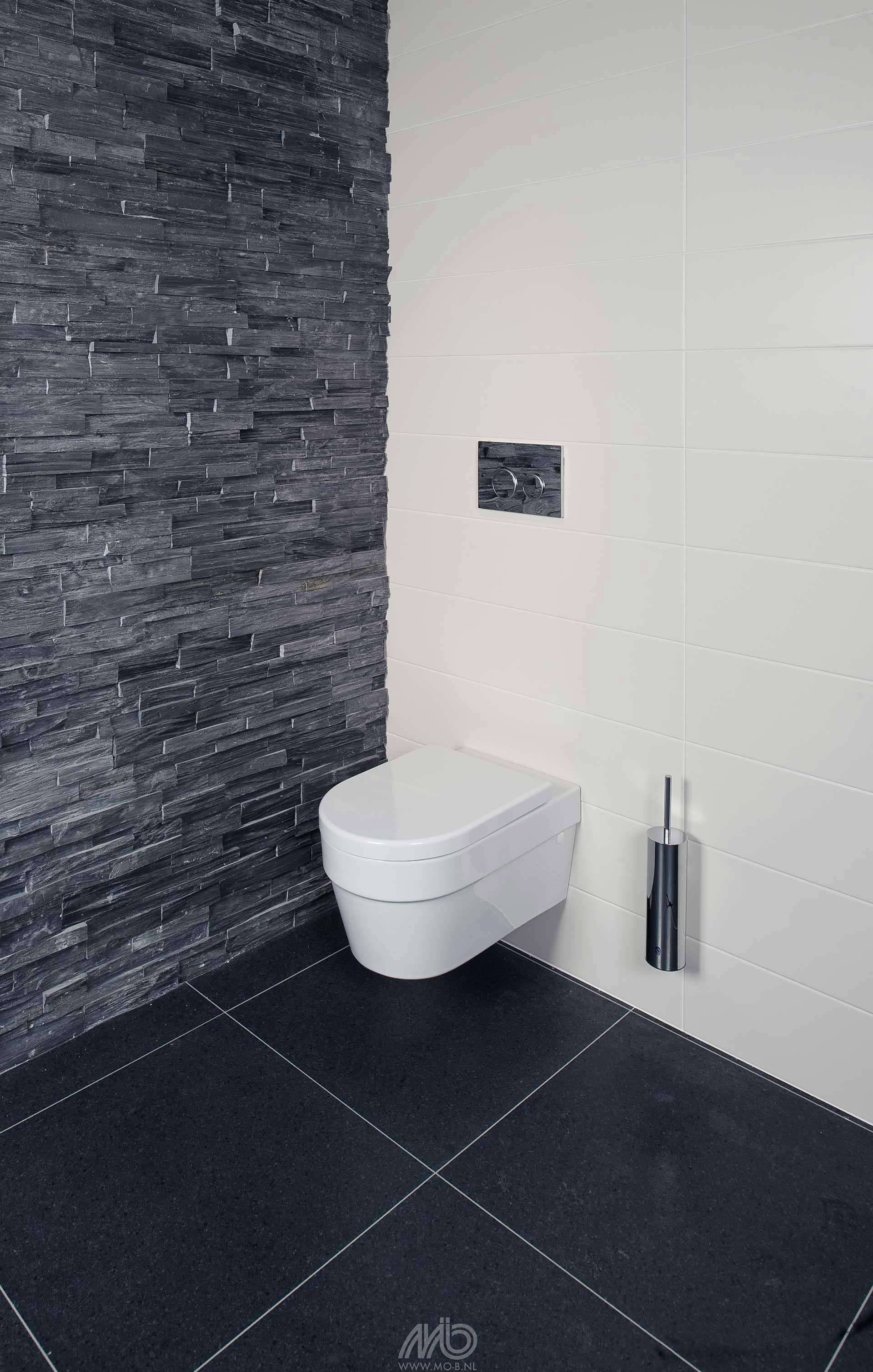 stone panels black slate toilet pinterest badkamer tegels