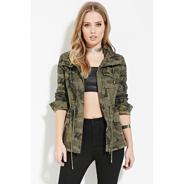 1a44ab5a3ad Forever 21 Women's Camo Drawstring Jacket ($45) ❤ liked on Polyvore  featuring outerwear, jackets, woven jacket, camoflage jacket, forever 21, forever  21 ...