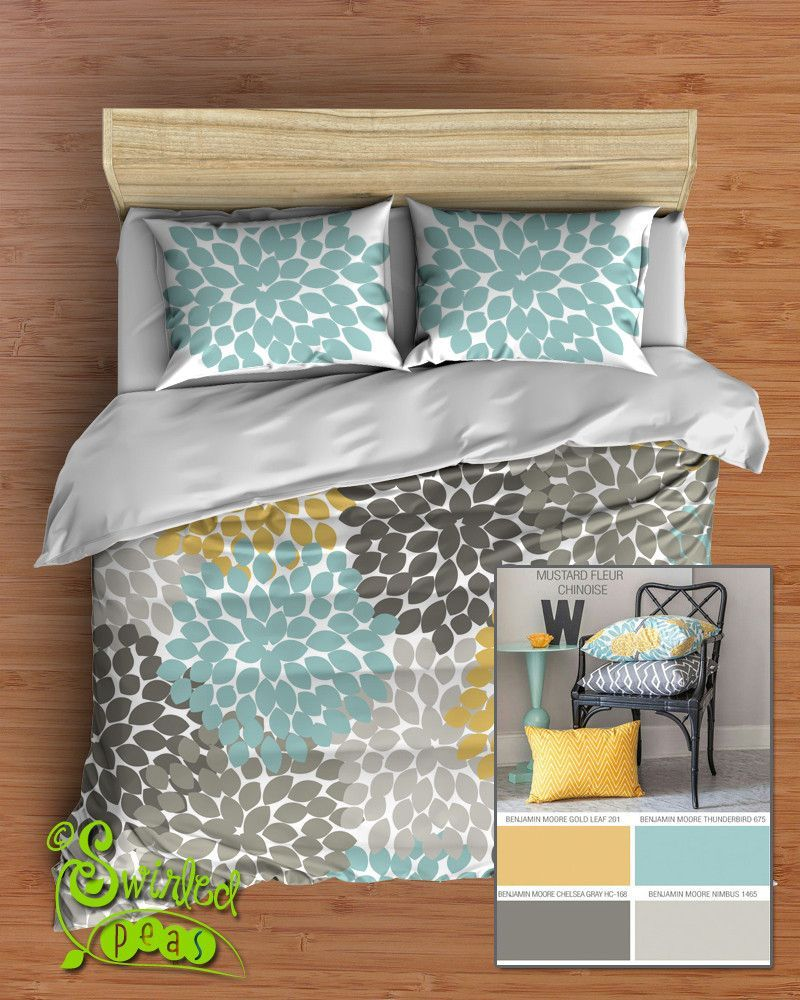 Yellow and gray floral bedding - Floral Bedding In Comforter Or Duvet Best Selling Yellow Gray And Aqua Dahlia Flower Design