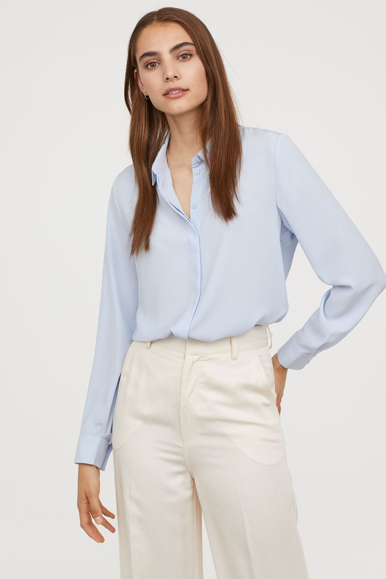 bfeb880c55e Long-sleeved Blouse in 2019 | wear | Blue blouse outfit, Blouse ...