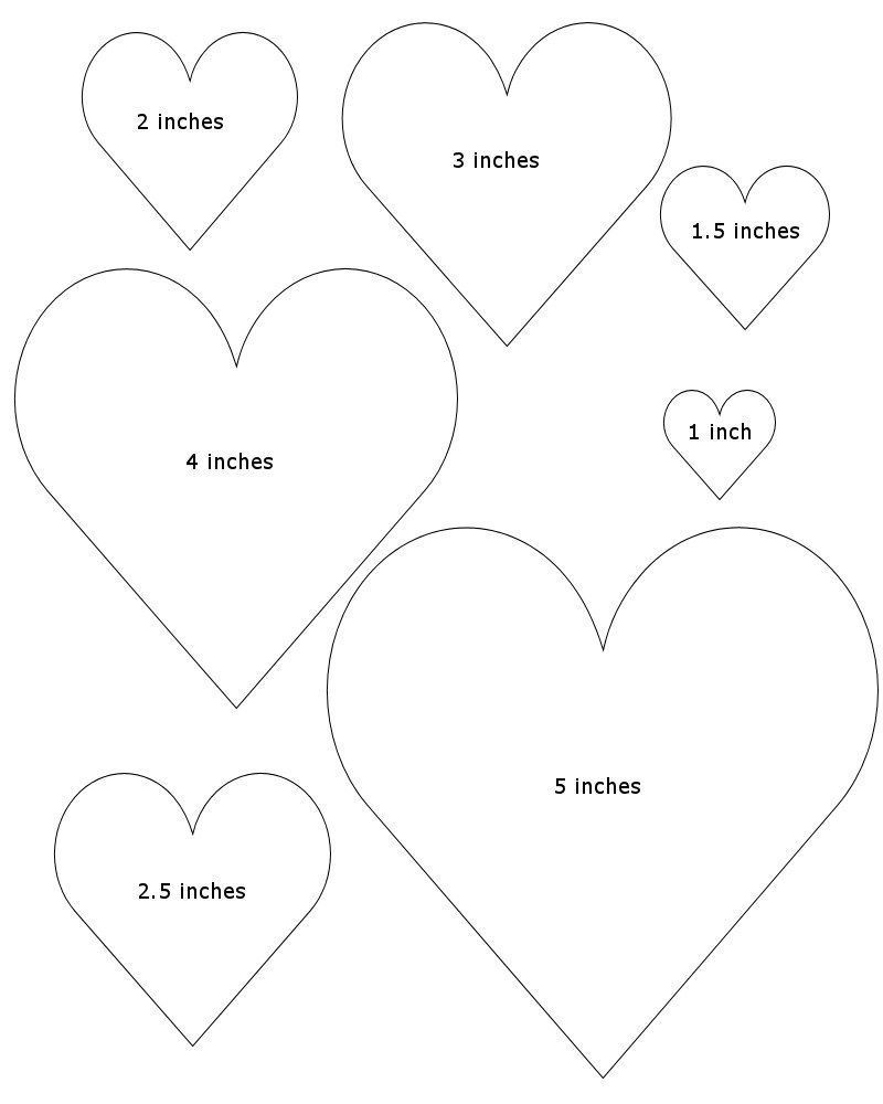 Heart Diffe Size Template