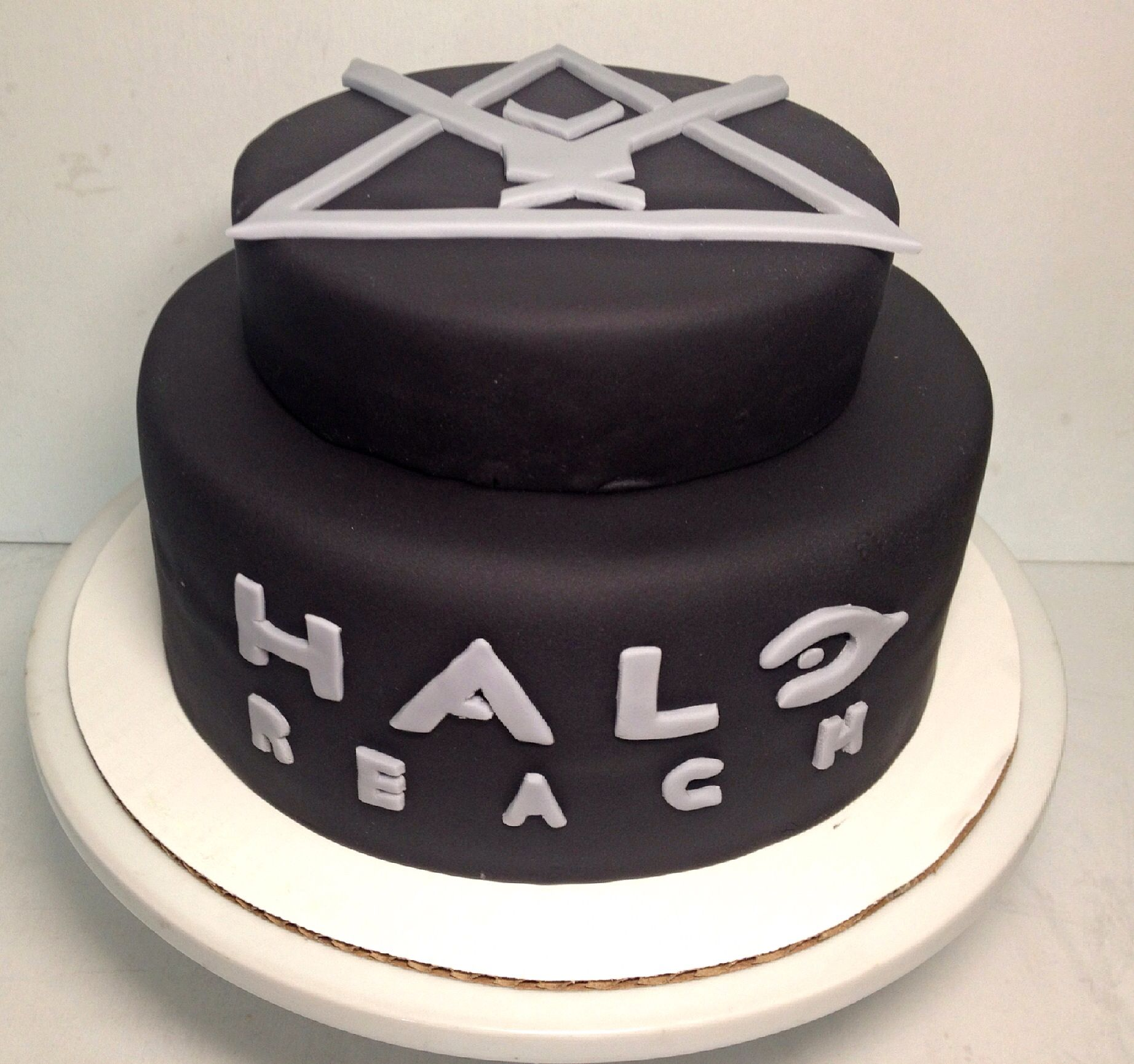 Halo Reach birthday cake 2 tier cake with fondant symbol and logo