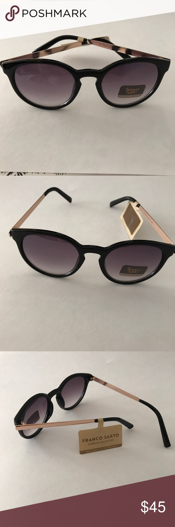 afc026d77db3 Circular frame with pronounced corners. Plastic  Metal. 100 UV protection.  Hombre tinted lenses. Franco Sarto Accessories Glasses