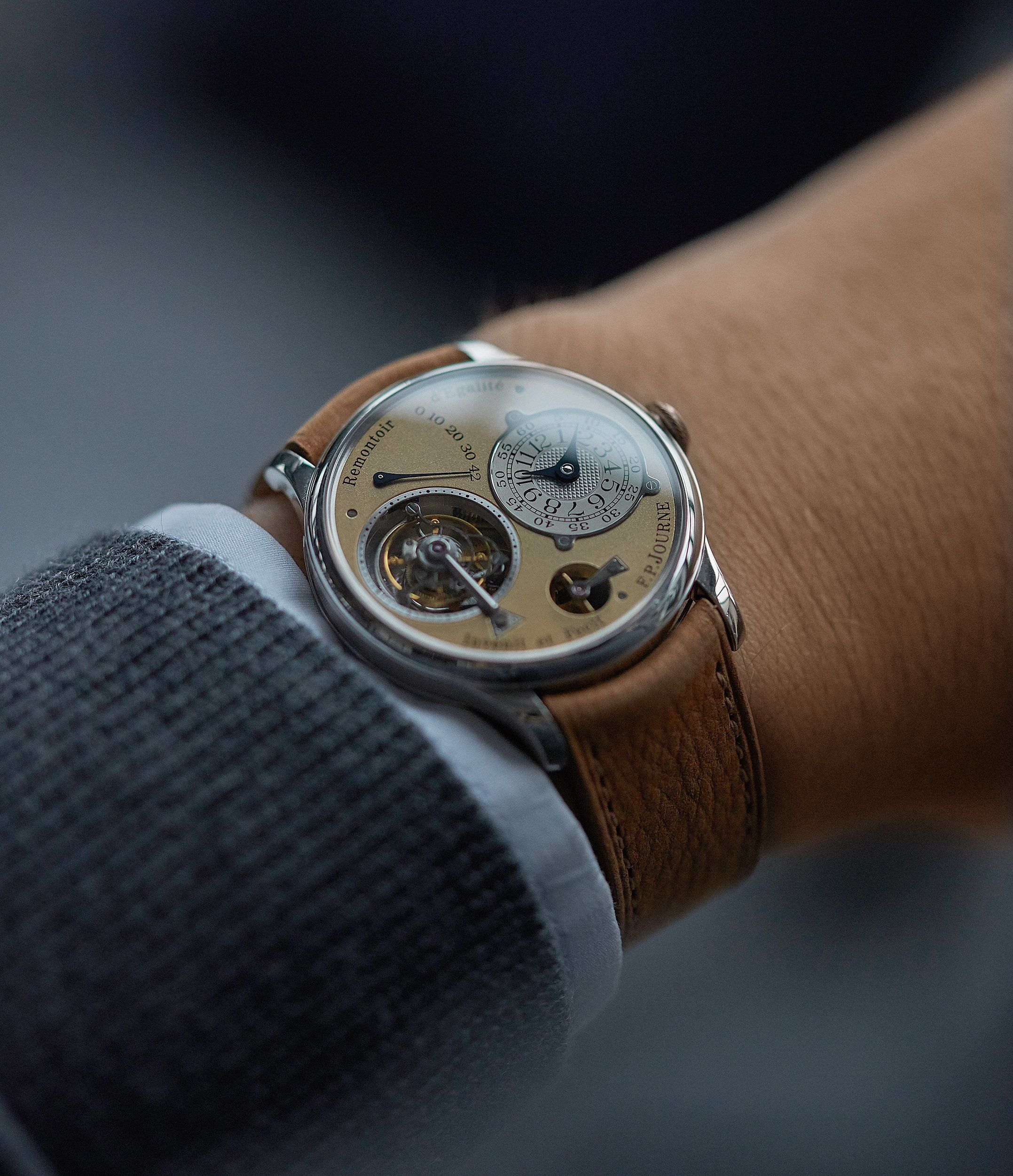2eb2ef19843 selling F. P. Journe Tourbillon 01T brass movement 38 mm platinum dress  watch for sale online at A Collected Man London UK specialist of rare  independent ...