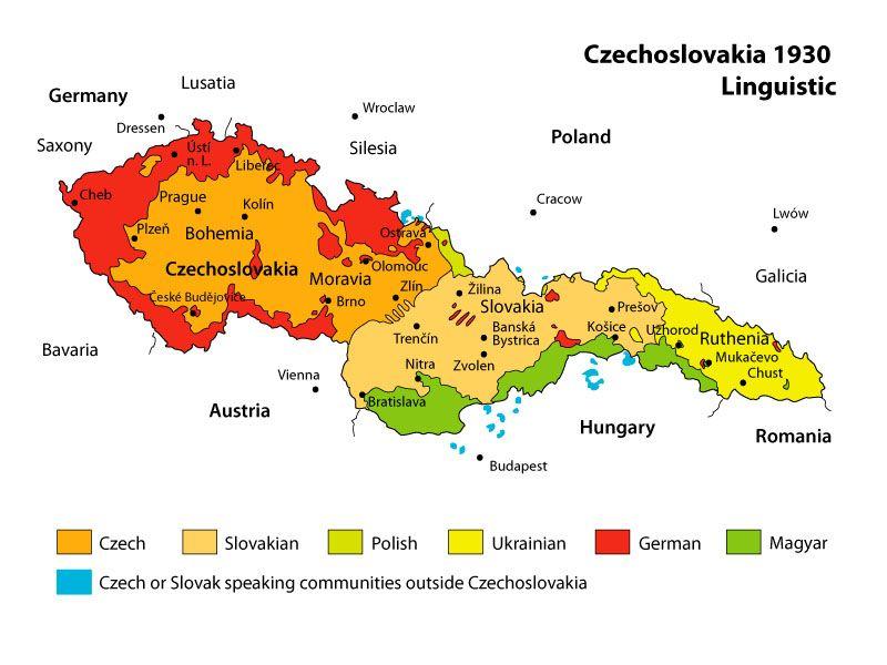 Toutes les langues parlées en Tchécoslovaquie pendant l'Entre-deux-guerres