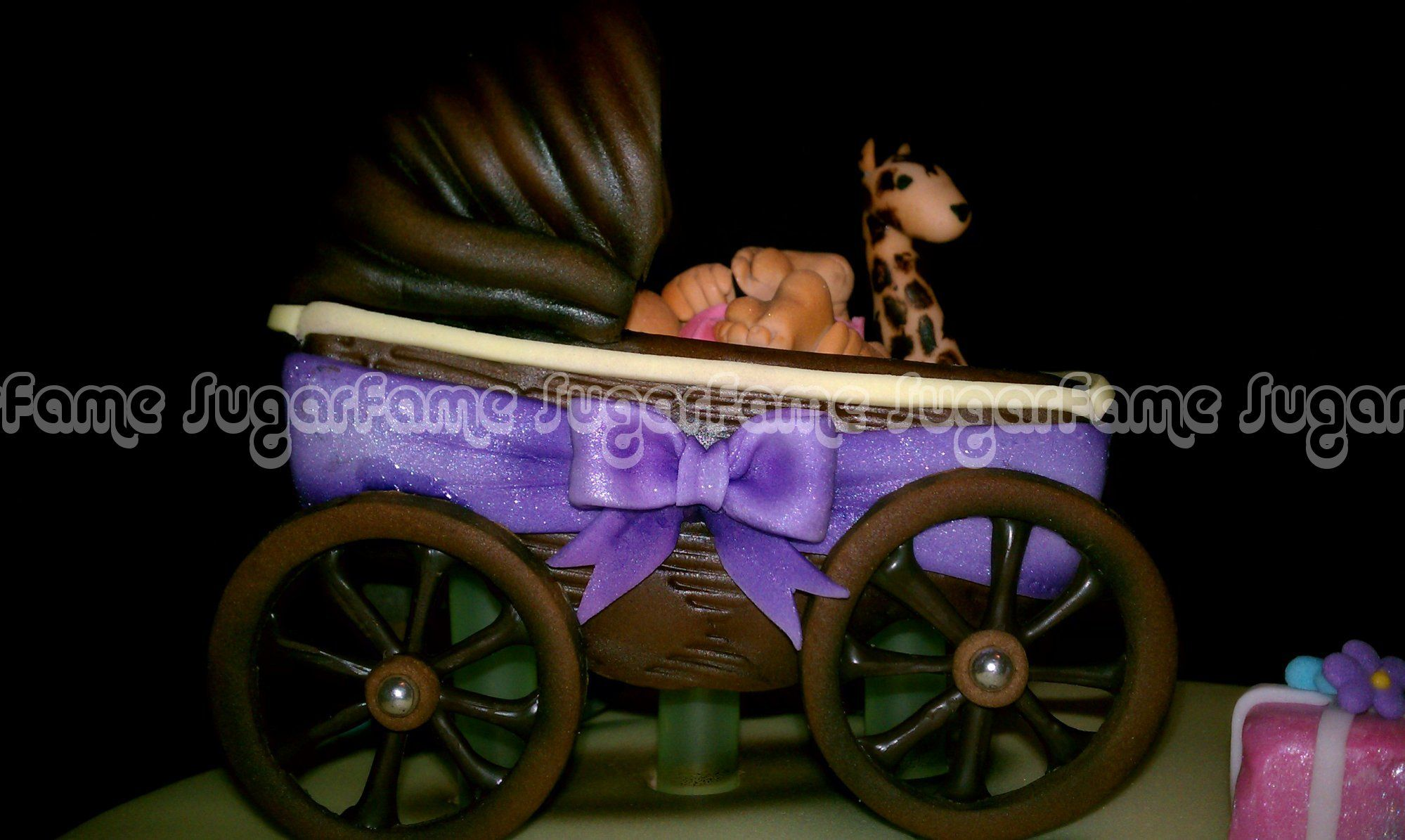 Hand carved Milk chocolate baby stroller cake topper