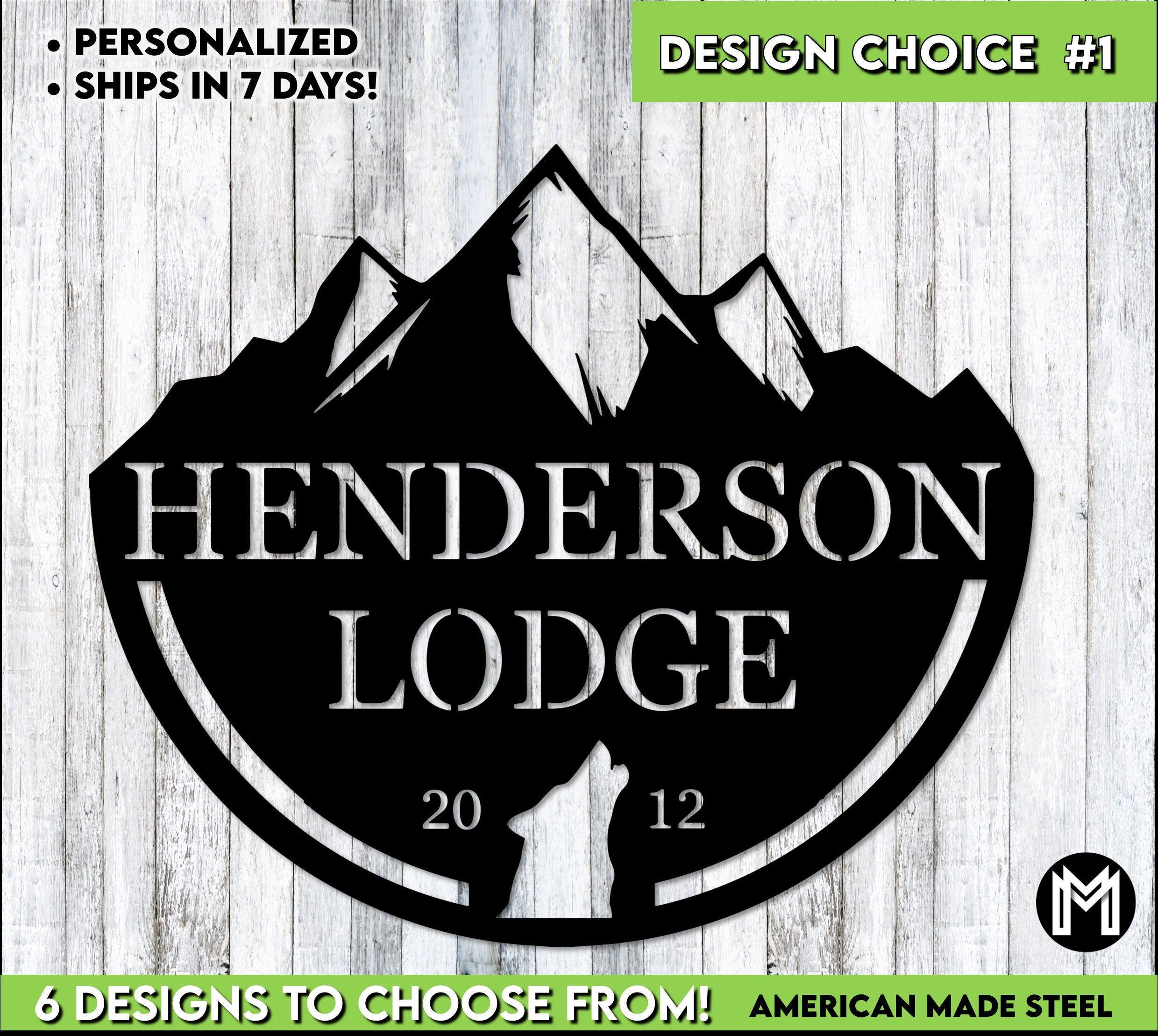 Custom Lodge Sign | Custom Cabin Sign  | Personalized Gift |  Housewarming gift | Deer | Mountains