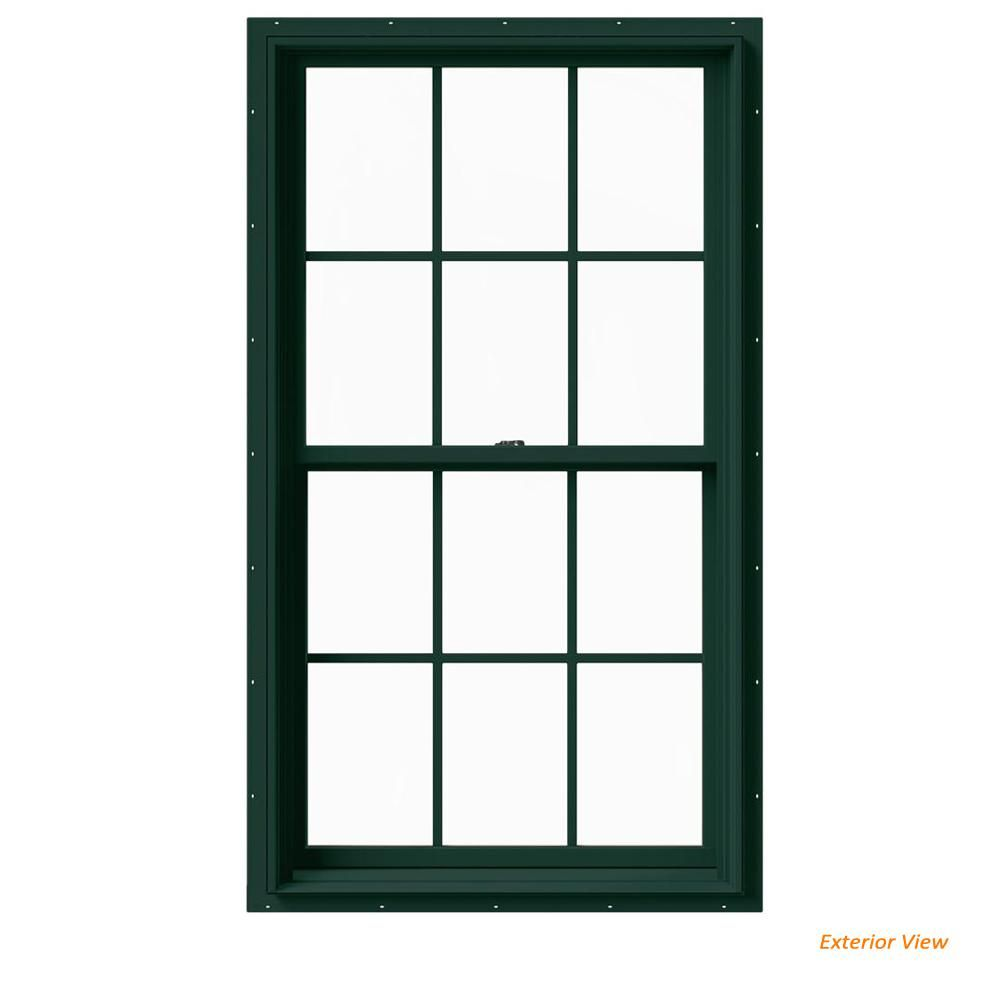 Jeld Wen 33 375 In X 60 In W 2500 Series Green Painted Clad Wood Double Hung Window W Natural Interior And Screen Double Hung Windows Casement Windows Natural Interior