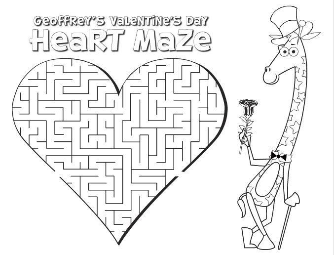 valentine day mazes coloring pages - photo#2
